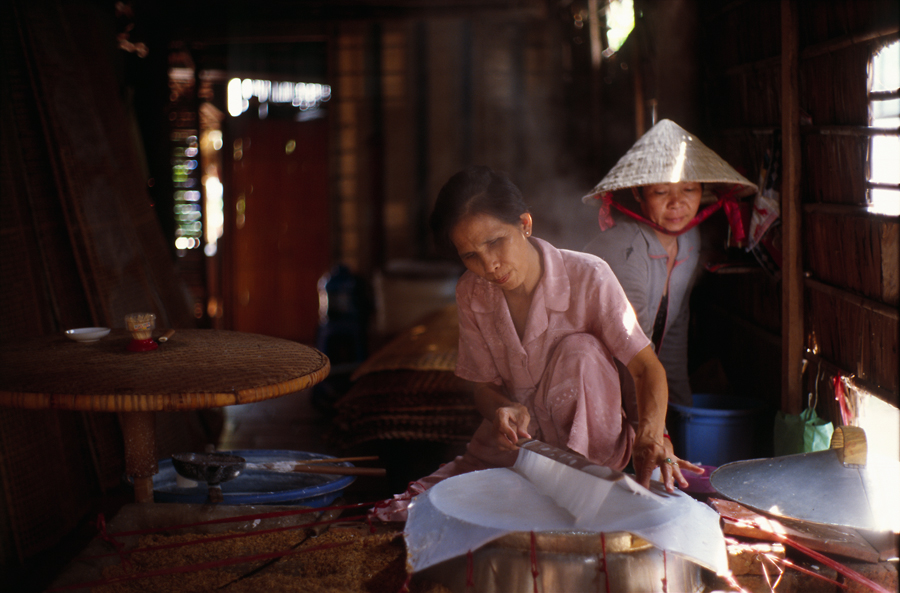 Women making a rice paper