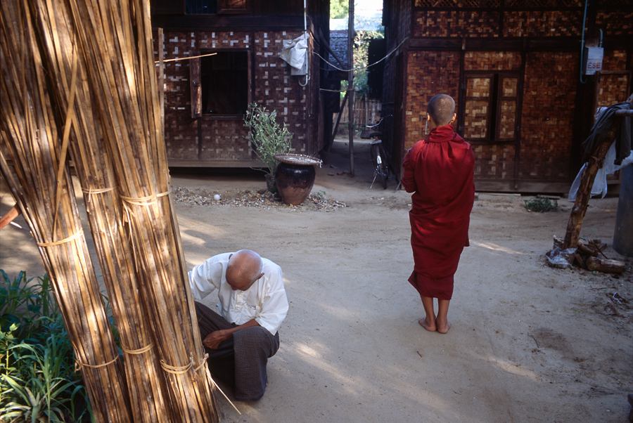 An Old Man And A Boy Monk