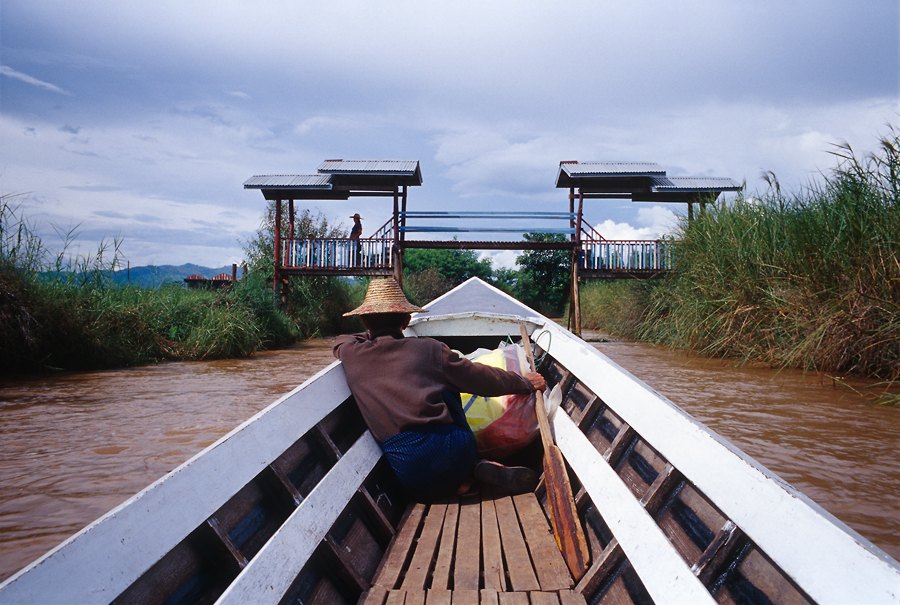 A boat man in Inle-Lake