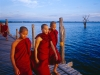 Monks Pagoda On U Bein Bridge Before Sunset